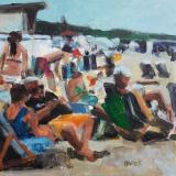 Kunstkaart Greeting of Katwijk aan Zee 2017007 werk Mariska de Kok 15x15 cm