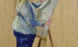 We are all Artists - mixed media op paneel 10 x 6 cm werk Mariska de Kok