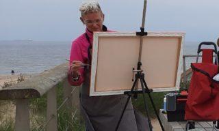 Jolinda in actie Schilderen aan zee